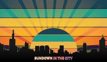 sundown in the city retro style vector