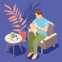 Baby Feeding Isometric  Background Vector Illustration