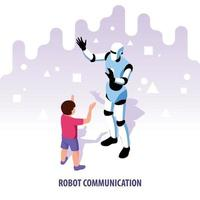 Isometric Robot Communication Composition Vector Illustration