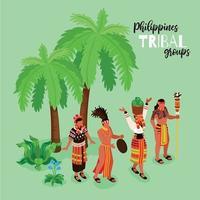 Phillipine Tribal Groups Poster Vector Illustration