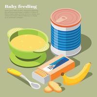 Ilustración de vector de fondo isométrico de alimentación de bebé