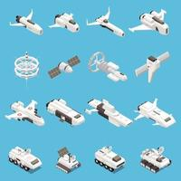 Space Ship Isometric Icons Set Vector Illustration