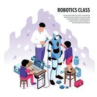 Isometric Robotics Workshop Background Vector Illustration