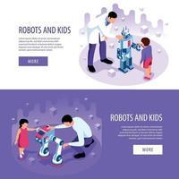 Children Robotics Horizontal Banners Vector Illustration