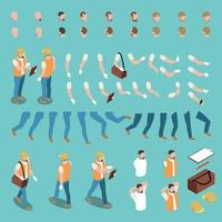 Isometric Male Character Constructor Vector Illustration