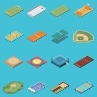 Sport Fields Isometric Icons Set Vector Illustration