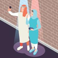 Modern Muslim People Background Vector Illustration