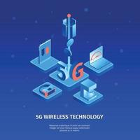 Isometric 5G Wireless Background Vector Illustration