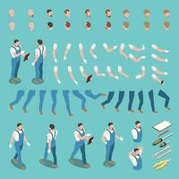 Isometric Character Constructor Vector Illustration