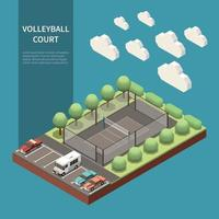 Sport Field Isometric Composition Vector Illustration