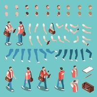 Isometric Character Constructor Set Vector Illustration