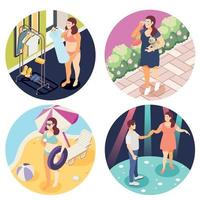 Large Size People Isometric Concept Vector Illustration