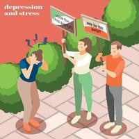Depression Stress Isometric Background Vector Illustration