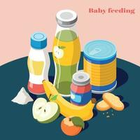 Baby Feeding Isometric Composition Vector Illustration