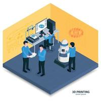 3D Printing Room Composition Vector Illustration