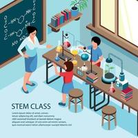 STEM School Classroom Background Vector Illustration