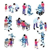 Kids Robotics Isometric Icons Vector Illustration