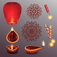 Diwali Realistic Transparent Set Vector Illustration