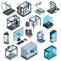 3D Print Isometric Collection Vector Illustration