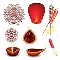 Diwali Realistic Accessories Set Vector Illustration