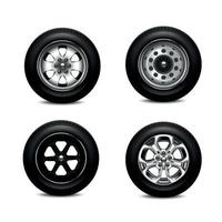 ruedas de coche conjunto realista ilustración vectorial vector
