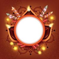 Diwali Lanterns Circle Frame Vector Illustration