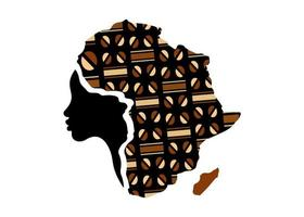 Concept of African woman, face profile silhouette with turban vector