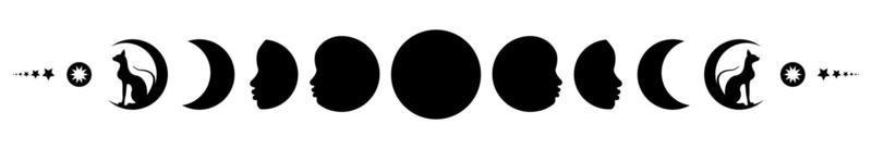 Phases of the moon. Triple moon and black cats, pagan Wiccan symbol vector