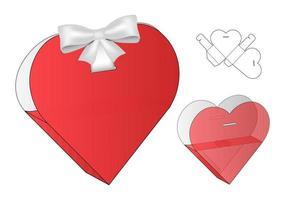 Heart Shape Box packaging die cut template design. 3d mock-up vector