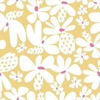 Scandinavian simple flower illustration motif seamless repeat pattern vector