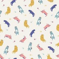 Dibujado a mano colorido gato animal ilustración patrón de repetición perfecta vector