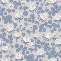 Trébol y motivo floral sin fisuras patrón de repetición fondo rosa claro vector