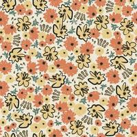 abstract African daisy flower illustration seamless repeat pattern vector