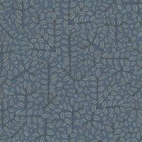pen drawing branches and leaves motif seamless repeat pattern vector