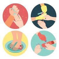 Manicure Isometric Icons Set Vector Illustration