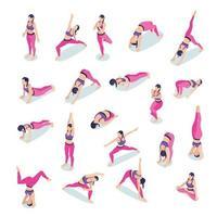Fitness Yoga Woman Set Vector Illustration