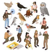 Ornithologist Isometric Set Vector Illustration