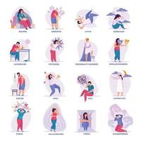 Mental Disorders Flat Icons Vector Illustration