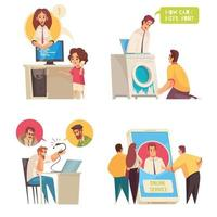 Call Center Concept Compositions Vector Illustration