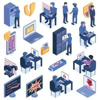 Isometric Hacking Icons Collection Vector Illustration