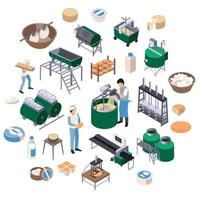 Dairy Production Isometric Composition Vector Illustration