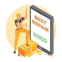 Handyman Repair Isometric Composition Vector Illustration