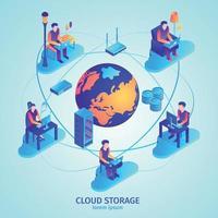 Cloud Storage Isometric Composition Vector Illustration