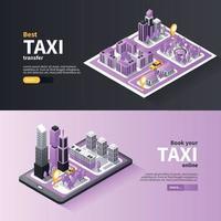 Ilustración de vector de banners de navegación de la ciudad de taxi