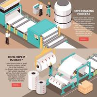 Paper Factory Banners Vector Illustration