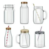 Cocktail Glass Cups Set Vector Illustration