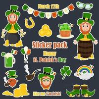 A set of stickers for St. Patrick's Day. Cartoon style. vector