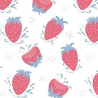 Pattern of fresh strawberries. Strawberries with water drops. vector