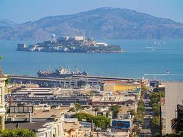 The Alcatraz Island and San Francisco Bay in San Francisco, California, USA photo