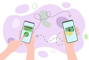 Mobile money transfers. Online banking vector